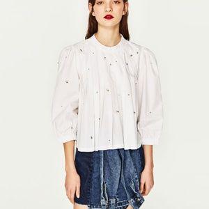Zara TOP WITH PLEATS AND GEMS-0881/029-POPLIN-XS